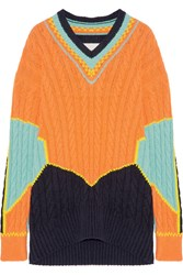 Maison Martin Margiela Oversized Color Block Cable Knit Cotton Blend Sweater Orange