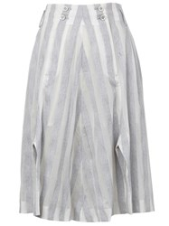 Anrealage Reflective Striped A Line Skirt Grey