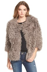 Women's Pam And Gela 'Mongolian' Genuine Shearling Coat Taupe