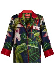 F.R.S For Restless Sleepers Era Tropical Floral Print Silk Pyjama Top Navy Print