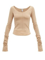 Christophe Lemaire Second Skin Scoop Neck Crepe Knit Sweater Beige