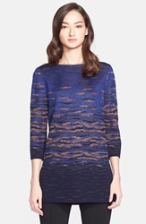St. John Sunset Jacquard Knit Tunic Navy Multi