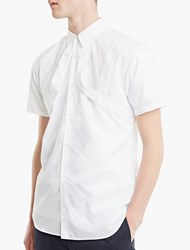 Comme Des Garcons White Stripe Relief Short Sleeved Shirt