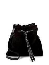 Halston Drawstring Leather Bucket Bag Black