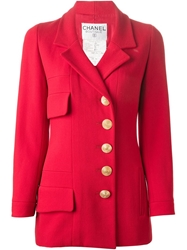 Chanel Vintage Off Center Button Fastening Blazer Red