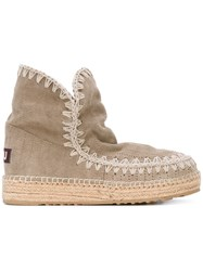 Mou Braided Sole Boots Women Leather Suede Rubber 40 Nude Neutrals