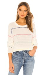Michael Stars Long Sleeve Striped Scoop Neck Sweater In Ivory. White Multi