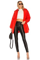 Lovers Friends X Revolve Calla Lily Belted Puffer Red