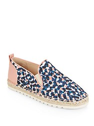 Nine West Noney Leather Trim Printed Canvas Espadrilles Blue