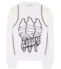 Stella Mccartney All Is Love Printed Cotton Blend Sweater White