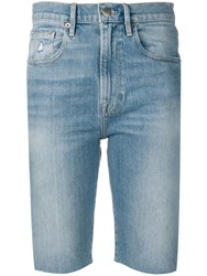 Frame Knee Length Denim Shorts Blue