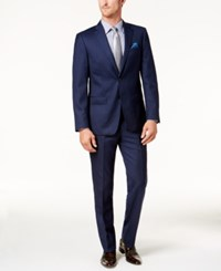 Tallia Men's Slim Fit Navy Tonal Grid Suit