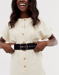 New Look Wide Belt With Square Buckle In Black