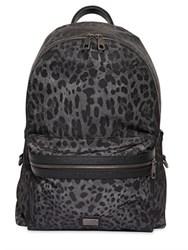 Dolce And Gabbana Leopard Printed Nylon Backpack