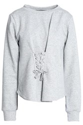 W118 By Walter Baker Isabella Lace Up French Terry And Cotton Blend Poplin Sweatshirt Light Gray