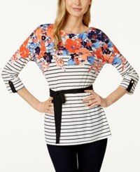 Charter Club Floral Stripe Belted Tunic Only At Macy's