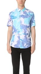 Steven Alan Short Sleeve Jasper Shirt Blue Purple Tie Dye