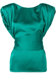Nineminutes Cropped Sleeve Blouse Green