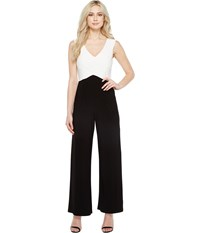 Adrianna Papell Color Blocked Matte Jersey Jumpsuit Ivory Black Women's Jumpsuit And Rompers One Piece Multi