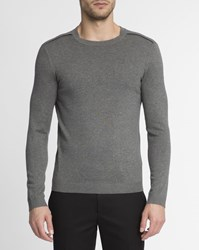 Ikks Grey Flannel Shoulder Patch Round Neck Jumper