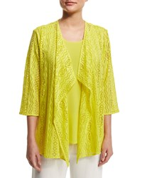 Caroline Rose Siesta Mesh Mid Length Cardigan Yellow Women's