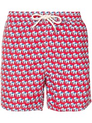 Mc2 Saint Barth Elephant Swimming Shorts Red