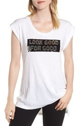 Kenneth Cole New York Basic High Low Sequin Top White