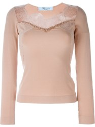 Blumarine Lace Appliqua Jumper Pink And Purple