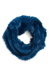 Women's Arielle Rabbit Fur Infinity Scarf Blue