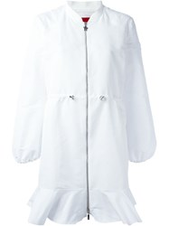 Moncler Gamme Rouge Logo Applique Zip Coat White