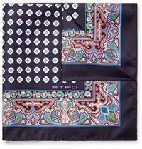 Etro Printed Silk Twill Pocket Square Navy