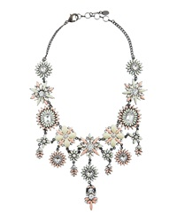 Amrita Singh Peach Crystal Flower Bib Necklace