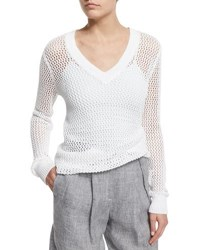 Michael Kors Long Sleeve V Neck Linen Mesh Sweater White
