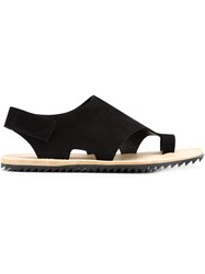 Pedro Garcia Toe Ring Flat Sandals Black