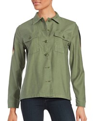Levi's Embroidered Cotton Jacket Olive