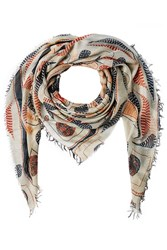 Figue Bengal Kantha Print Scarf With Silk Gr. One Size