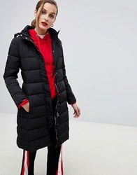 Emporio Armani Longline Padded Coat With Branded Taping Black