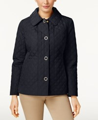 Anne Klein Quilted Snap Front Coat Navy