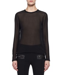 Tom Ford Sheer Georgette Long Sleeve Top Black