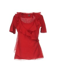 European Culture Blouses Red