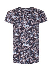 Topman Black Navy Floral Print Muscle Fit T Shirt