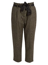 Brunello Cucinelli Prince Of Wales Checked Wool Blend Trousers Brown