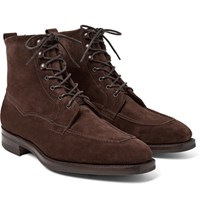 Edward Green Nevis Shearling Lined Suede Boots Dark Brown