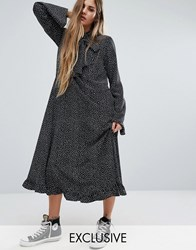 Reclaimed Vintage Flare Sleeve Maxi Dress In Spot Black