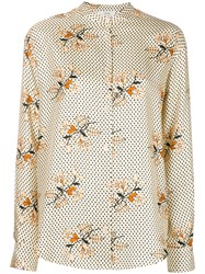 Forte Forte Floral Band Collar Shirt Nude And Neutrals