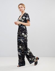 Girls On Film Floral Jumpsuit With Kimono Sleeves Black Floral Print