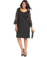 Style And Co. Plus Size Three Quarter Sleeve Lace Dress Black
