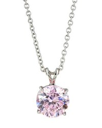 Fantasia Round Crystal Pendant Necklace Pink