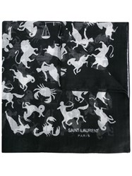 Saint Laurent Horoscope Print Scarf Black