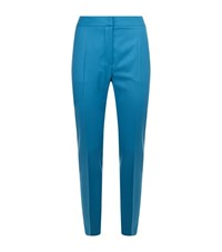 Max Mara Cropped Wool Flat Front Trousers Female Blue